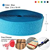 2'' Wide 16.4' Long Hook and Loop Cable Tie One Wrap Cord Fastener Nylon Power Cord Management Wire Organizer Strap Reusable Cut to Size Self Gripping Tape Roll - 5 Colors 0.6'' wide Available(Blue)