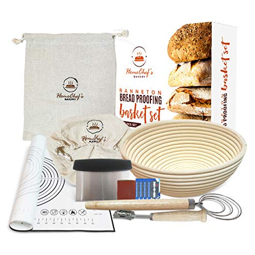 Banneton Bread Proofing Basket Set - HomeChef's Bakery Proofing Basket - Bread Baking Supplies & Bread Making Kit - 9 Inch Proofing Baskets, Cloth Bag, Bread Lame, Kneading Mat, Scraper, Whisk, Liner
