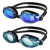 ZIONOR 2 Packs Upgrade G8 Swim Goggles for Men/Women, UV Protection Anti-Fog Leak-Proof Swimming Goggles for Adult and Youth (AllBlackBlue+AllBlackClearBlue)
