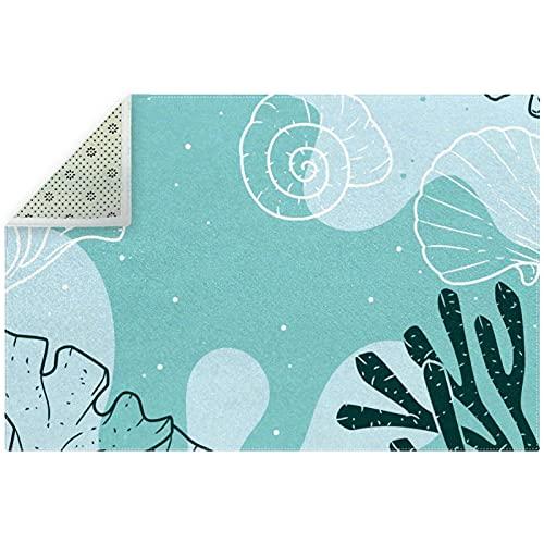 Alfombra de piso suave azul coral antideslizante para decoración del hogar para sala de estar y...