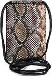 styleBREAKER Bolso de Bandolera para el móvil de Mujer en óptica de Piel de Serpiente, Bolso de Hombro, Bolso de Mano para el móvil, minibolso 02012306, Color:Marrón-Beige