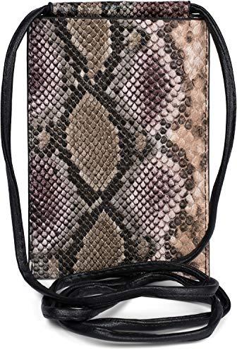 styleBREAKER Damen Handy Umhängetasche in Schlangen Optik, Schultertasche, Handy-Tragetasche, Mini Bag 02012306, Farbe:Braun-Beige