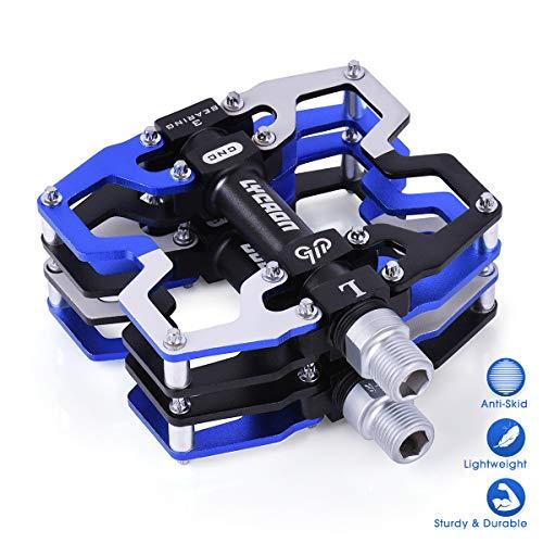 LYCAON Pedales para Bicicletas, Pedal de Bicicleta de Husillo CR-Mo Antideslizante de Aleación de Aluminio Mecanizado por CNC, para Pedales de Bici de Carretera MTB BMX Cycle Mountain de 9/16' (Azul)