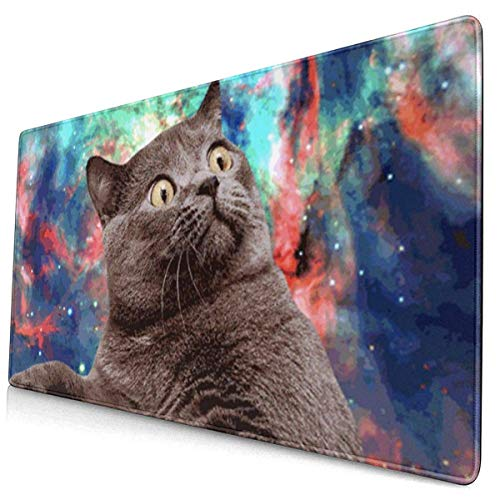 GIF Cat Multifunktions-Schreibtischpad, Gaming Large Keyboard Mouse Pad mit genähten Kanten