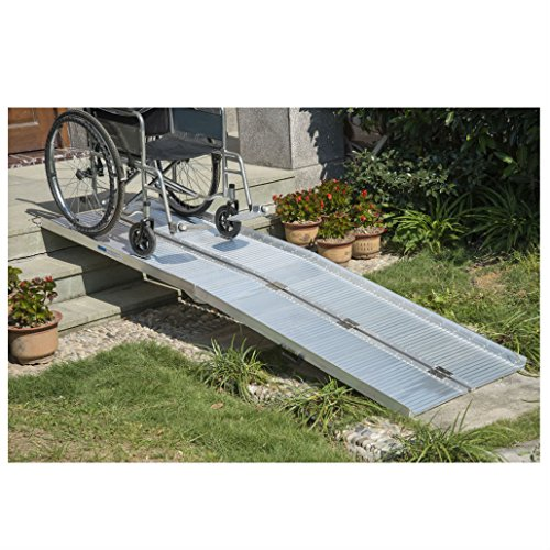 10' Folding Portable Suitcase Mobility Wheelchair Threshold Ramp New