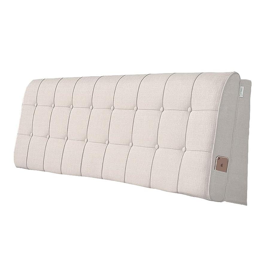 指標退化する不要ベッドクッション大背もたれ枕ヘッドボードソフトカバー 綿とリネン 洗える 複数の仕様が利用可能 (Color : Beige, Size : 90x60cm)