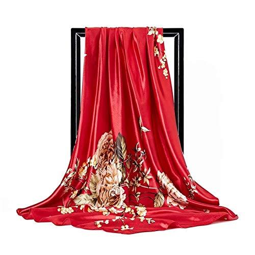 LONGYOUZHI zijden sjaal voor dames, halsdoek, 90 x 90 cm, vierkante kop, Hijab Signore sjaal, van chiffon, geluiddemper, voor dames, zonder bandanna