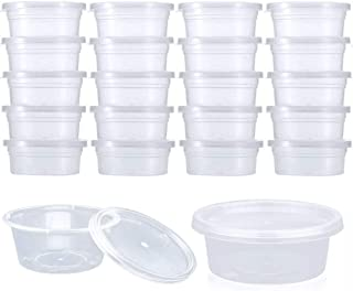DOMIRE 40 Pack Slime Containers, Leakproof Clear Plastic Foam Ball Storage Containers with Lids for 2 oz Slime