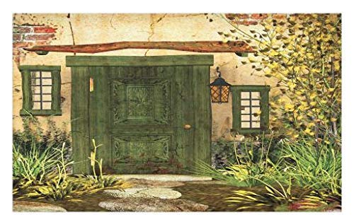 Rustic Doormat, Cottage Door Overgrown Bushes Grass Tree Garden Brick Fairy Tale Countryside, Decorative Polyester Floor Mat with Non-Skid Backing, 30' X 18', Yellow Ivory 16' X 24'