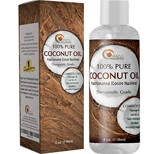 Liquid Coconut Oil for Hair and Skin - Carrier Oil and Dry Skin Moisturizer for Face plus Body Massage Oil with Anti Aging Skin Care Benefits - Coconut Hair oil and Moisturizing Body Oil for Dry Skin