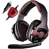 Sades SA903 Gaming Headset - Cuffie da PRO Gaming USB con Suono Surround 7.1, Microfono, Deep Bass, Controllo del Volume (Nera)