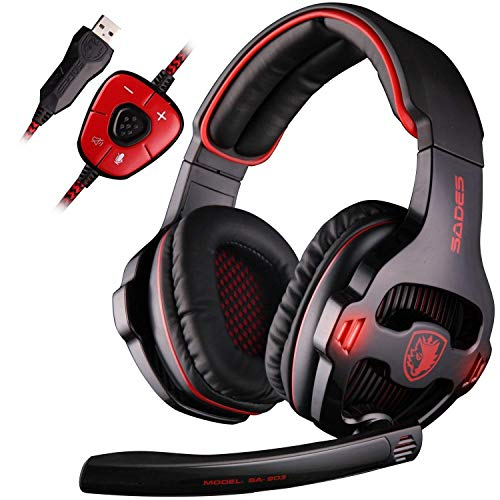 SADES SA903 7.1 Surround Sound Stereo Pro USB de la PC Gaming Headset Auriculares Diadema con micrófono Deep Bass Over-The-Ear Control de Volumen LED Luces para Jugadores de PC (Negro)