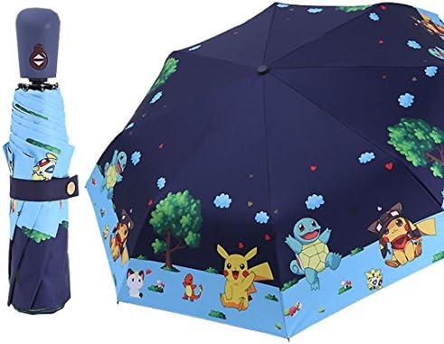 AloveTree Kids Folding Umbrella Automatic Open Cartoon Travel Umbrella Compact Windproof for product image