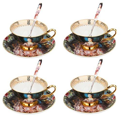 Porzellan Teeservice aus Artvigor, 12-teilig Set Kaffeeservice, Beinhaltet Kaffeetassen, Untertassen und Löffel