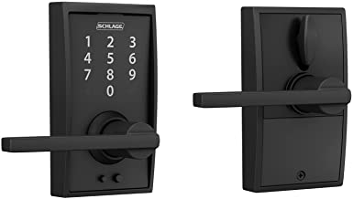 Schlage Touch™ FE695 Century Lock with Latitude Lever, Matte Black