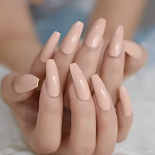 Shimmer Pink Nude Coffin Fake Nails Extreme Long Ballerina Full Cover Artificial Tips Natural Faux Ongles 24