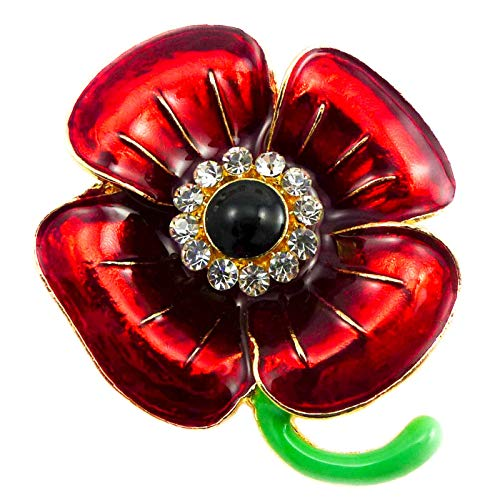 New RED 3D Flower Enamel Gold Brooch PIN for Women in Black Presentation Box from UK Seller