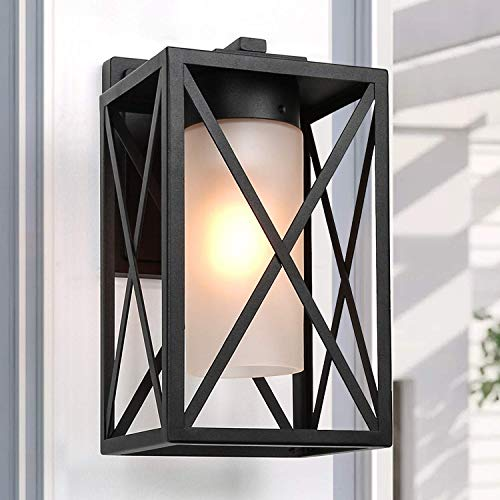 LALUZ Exterior Light Fixtures Wall Mount Outdoor Sconce with Frosted Glass for Entryway, Yards, Patio, 12.2, Black
