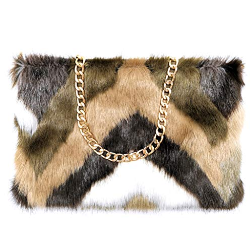 FHQHTH Faux Fur Purse Fuzzy Handbags for Women Evening Handbags Al alloy Shoulder Strap [Mink Khaki]