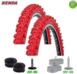 2x Kenda MTB Neumático de la bicicleta cubierta + 2 Mangueras AV-26 X 1.95-50-559 (Rojo)