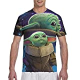 The Mandalorian Baby Yoda T-Shirts Short Sleeve Crew Neck Print Tee for Men Women and Youngs