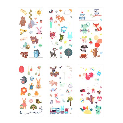 CAOLATOR 6 Blatt Cartoon Tiere Sticker Kinder PVC Aufkleber Mädchen Spielzeug für Stickerbuch Tagebuch Fotoalbum Notizbuch Kalender Dekoration Scrapbooking
