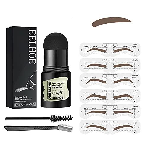 Augenbrauen Stempel,Makeup Brauenpuder Schablonen Kit,One Step Brow Stamp Shaping Kit,Eyebrow Stamp,Eyebrow Shaper Make Up Stencil für Anfänger,Wiederverwendbares Makeup Brauenpuder (Dark Brown)