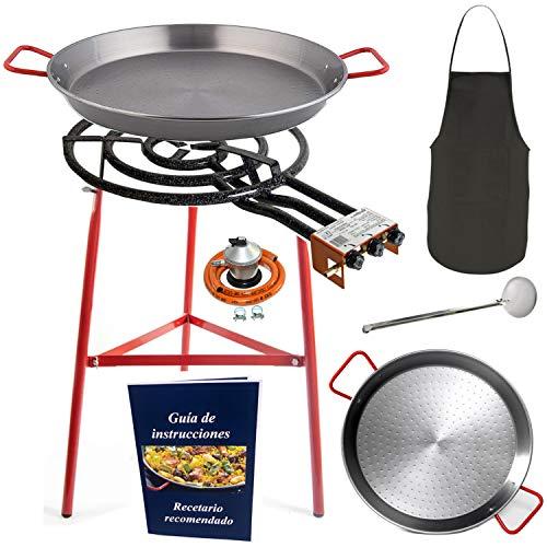 Makumba-Kit de poêle à paella de 60 cm, réchaud à gaz butane, poêles 70 cm+42 cm, régulateur de gaz + tuyau, lot de 3 pieds renforcés, balai, manchon de cuisine, guide d instructions et de recettes