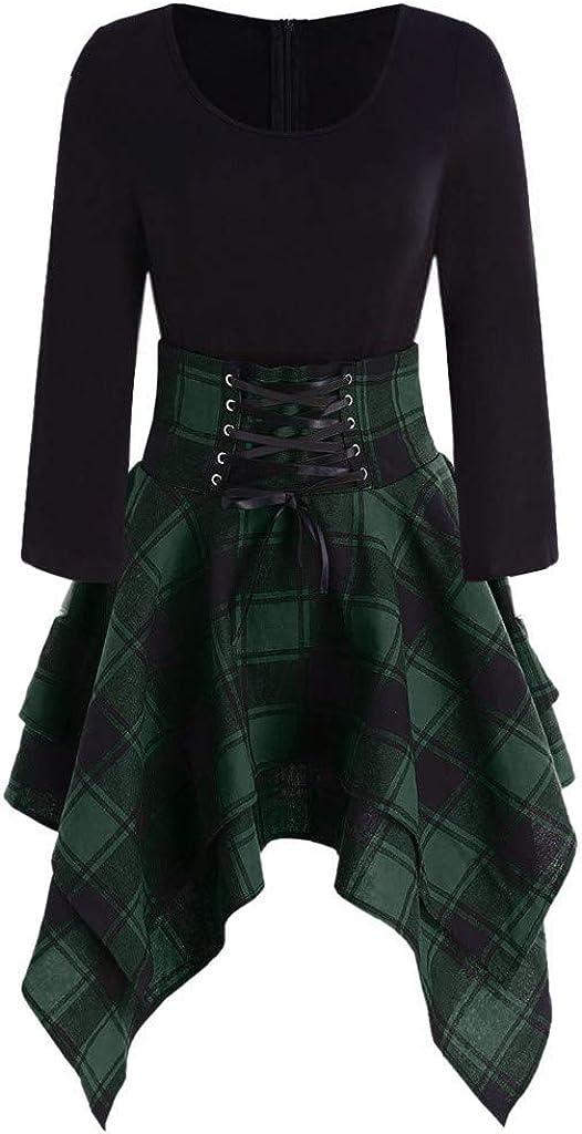 Women Casual O Neck Lace Up Tartan Plaid Print Asymmetrical Mini Dress Puffy Swing Casual Party Dress