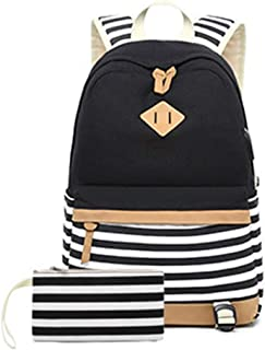 Striped Female Canvas Backpack College Backpack Casual Outdoor Backpack Hiking Backpack QDDSP (Color : Black)