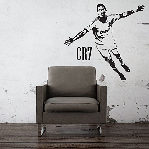 Football Wall Stickers Wandaufkleber, Wand-Tattoo CR7Cristiano Ronaldo, Real Madrid, für Wohnzimmer, Schlafzimmer, Wand-Dekoration, Wandbild (schwarz)