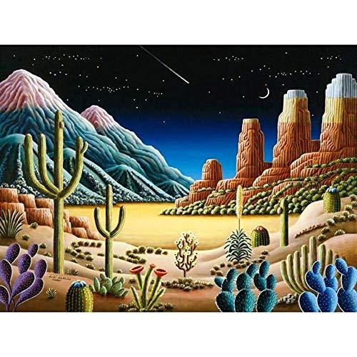 Pintura Diamante DIY 5D Kit diamond painting Taladro completo Diamantes imitación Ciudad cactus dibujos animadoscuadros Punto Cruz Salón pared Home Wall Art Decor u269 80x110cm