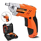 Komake Cordless Screwdriver, 4.8v Electric Screwdriver Rechargeable and 45pcs Screw Bit Drill Tool Kit Set in Carry Case Screw Gun Power Drill with LED Light and Pivoting Handle