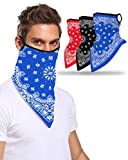 3PCS Face Bandana Ear with Loops Face Scarf Neck Gaiters for Dust Wind Motorcycle Outdoor Workout Sports, Paisley Set