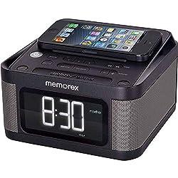 Alarm Clock Radio with 2 USB Charging, 1.2 Inch LCD Display, FM Radio, 3.5mm Line-in Jack, Stereo Sound Memorex MC8431 - Black