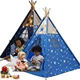 LimitlessFunN Kids Teepee Cotton Play Tent with Pockets, Wooden Poles & Waterproof Base [ Bonus Star Lights, Decorative Feathers & Carrying Case ] - Blue Star