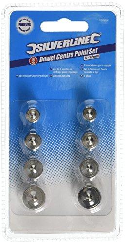 Silverline 733252 Holzdübel-Zentrierspitzen, 8-tlg. Satz 6–12 mm