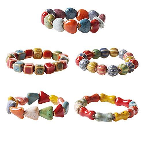 ht bracelets FANJURNEY Ceramic Bracelet Colorful Handmade Geometry Shapes Bohemian Style Ethnic Style Stretch Adjustable Bracelet for Women Girl
