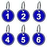 Aspire Paquete de 50 Etiquetas Numeradas con Llavero, Llaveros Numerados con Anilla, Llavero de ABS con Número Grabado, Color Azul, 1-50