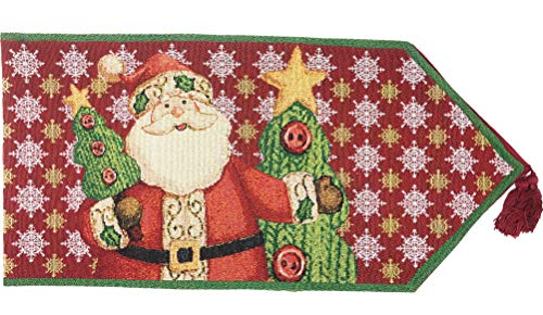 Tache Home Fashion DB15191-1354 Festive Christmas Tapestry Santa Claus is Coming to Town Table Runners, 13 x 54