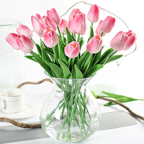 JUSTOYOU Tulipán, Toque Real, 33 cm de Largo, Flores Artificiales Decorativas para Ramos de Boda, hogar, Hotel, jardín, Actividades de Navidad, Regalos, Telas, rosa-10