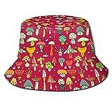 BOIPEEI Regalos del día del Padre Sombrero de Pescador de Moda Sombrero de Cubo con Estampado Rojo de Setas Sombreros Unisex Hip Hop Sombreros de Pescador Femeninos