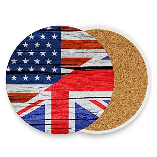 Keramik-Untersetzer für Getränke, saugfähig – USA-Flagge, englische Kork-Untersetzer, Einweihungsgeschenke, lustige Untersetzer, Esszimmer-Tischdekoration, keramik, Muster, 0.20x3.9inx4