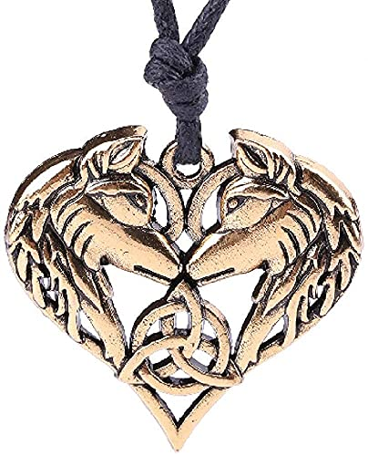 AMOZ Collares, Joyas, Utilizados para Los Celtas. Collar con Colgante de Lobo Espiritual, Pareja,...