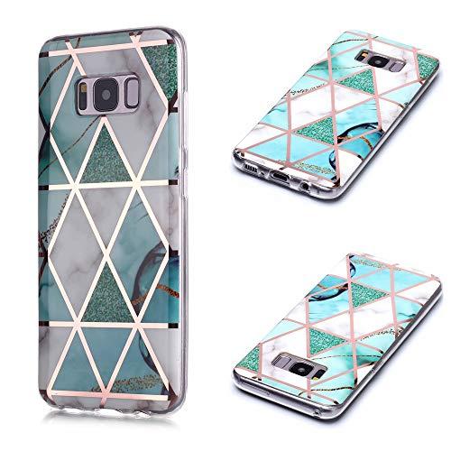 Nadoli Galvanoplastie Marbre Coque pour Samsung Galaxy S8 Plus,Silicone Housse de Protection en TPU Souple Lustré Ultra Mince Bumper Étui Cover,Vert Blanc