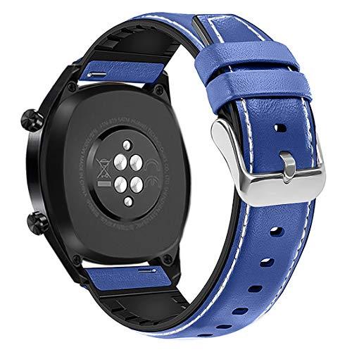 Coholl Correa Compatible con Huawei Watch GT 2/Huawei 46mm Sport/Classic/Active/Elite,Correa de Repuesto Cuero Hebilla Liberación Rápida para 22 mm cuero,Azul noble