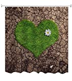 A.Monamour Geknackt Land Herz Geformt Grün Gras Liebhaber Thema Polyester Stoff Wasserdicht Duschvorhang Für Bad Dekorationen Mit Haken 180X200 cm / 72