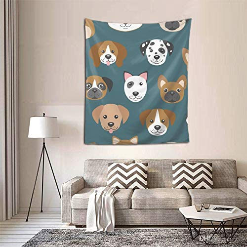 Cartoon Dog Muzzles Wall Tapestry Black and White Tapestry Moon Sun with Star Tapestry Fractal Faces Bohemian Mandala Mystic Tapestry