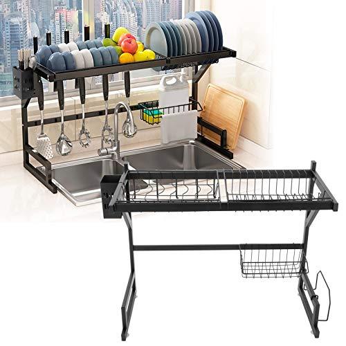 Uxsiya Escurridor de Ahorro de Espacio Ajustable Estante para Fregadero de Secado Estante para secar Platos Estante de Cocina Estante para Fregadero para Platos Uso doméstico en la Cocina