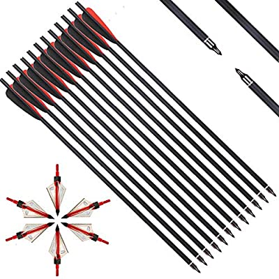IRQ 20 Inch Crossbow Bolts and Crossbow Broadheads Set, Carbon Crossbow Arrows for Hunting and Outdoor Practice, 12 Red Arrows, 6 Broadheads(18 Pack)